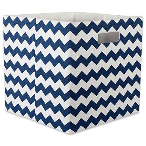 DII Hard Sided Collapsible Fabric Storage Container for Nursery, Offices, & Home Organization, (13x13x13) - Chevron Nautical Blue