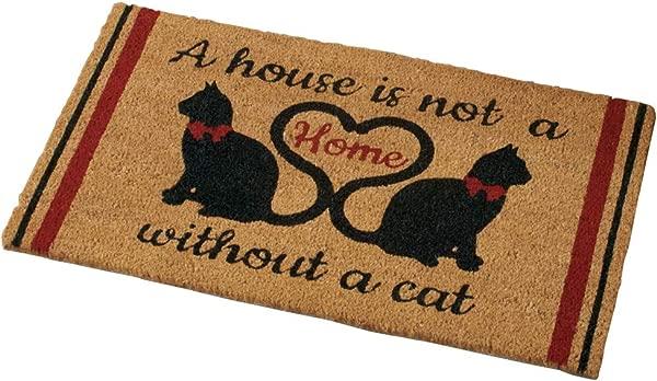 Collections Etc Cat Lovers Novelty 18 X 30 Coco Doormat Brown