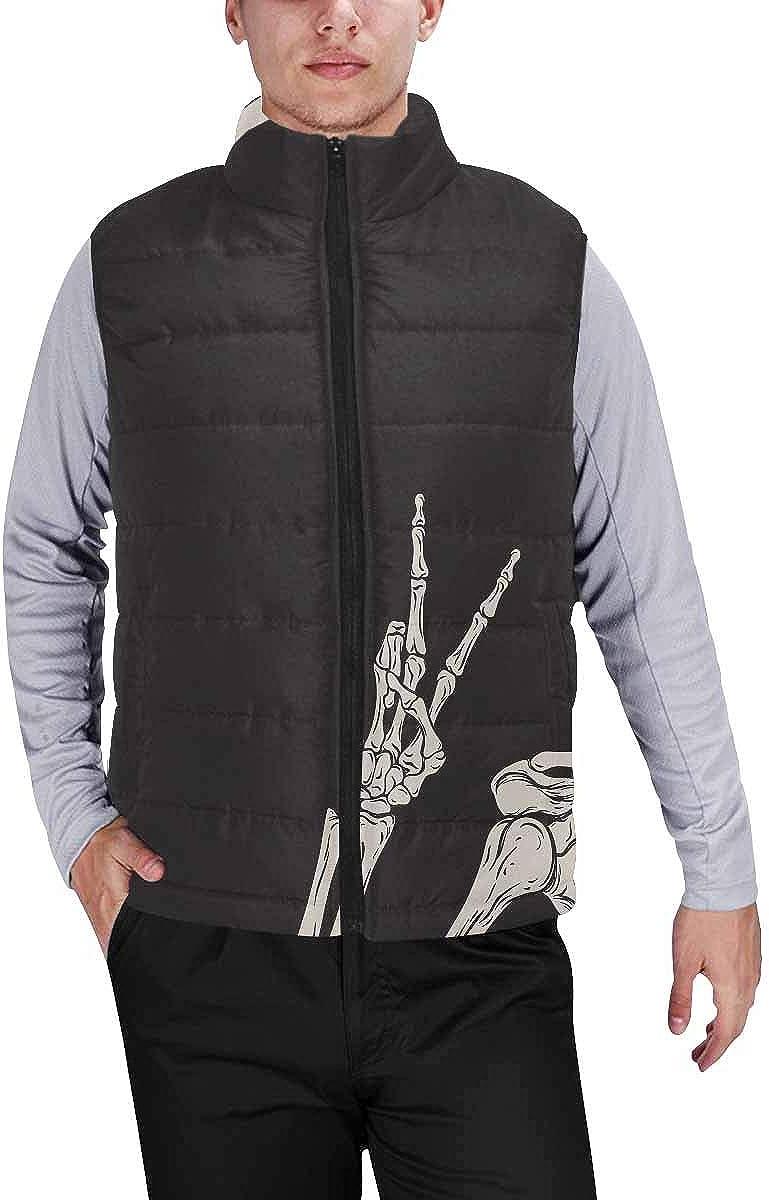 InterestPrint Men's Lightweight Keep Warm Puffer Vest for Outdoor Hipster Santa Faces on Pink