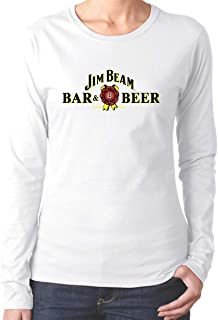 Jim Beam Women's Basic Solid Cotton Long Sleeve Crew Neck Top T-Shirts