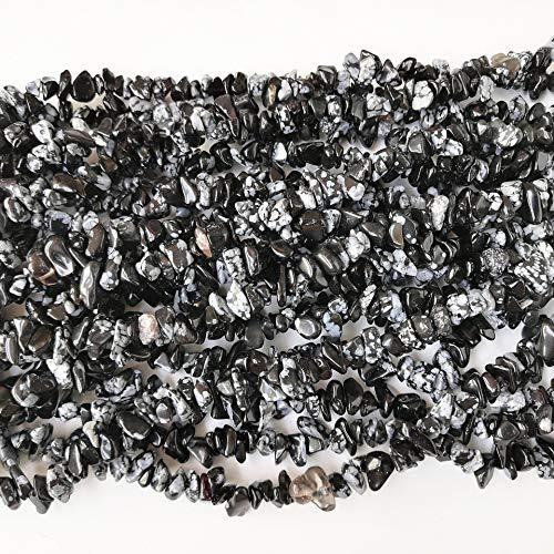 Lovionus89 150 cm de obsidiana copo de nieve, cristal de forma irregular y cuentas de piedra de curación para la fabricación de joyas.