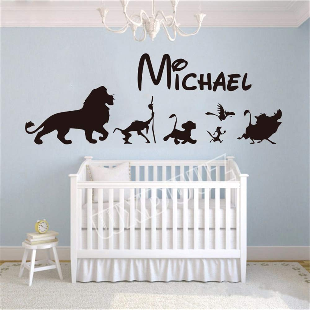 Wall Sticker Decoration Lion King Cartoon Personalized King Lion Hakuna Matata Wall Tattoos Name Personalized Stickers Children Baby Room Wall Art Amazon Co Uk Diy Tools