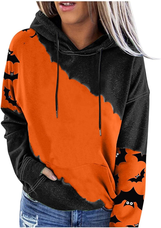 Womens Hoodies, Womens Halloween Sweatshirt Casual Long Sleeve Pumpkin Face Drawstring Pullover Cute Tops Blouse