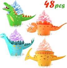 Dinosaur Cupcake Wrappers Toppers(48Pack),Konsait Little Dino Cupcake Toppers Cake Table Decorations Party Supplies for Bo...