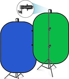 Neewer 150x200cm Chromakey Telón de Fondo Plegable Azul-Verde con Soporte Kit: 2 en 1 Fondo Reversible Pantalla Emergente ...