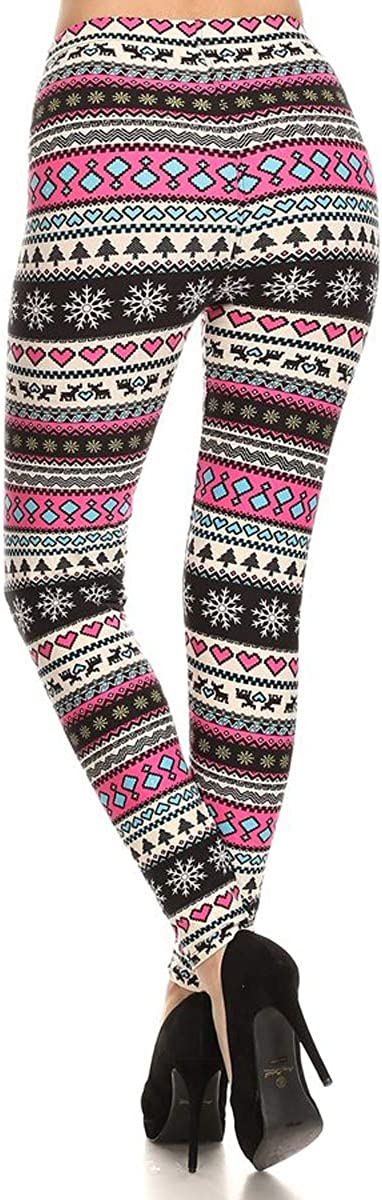 Womens Ultra Soft Christmas Reindeer Santa Snowman Holiday Printed Fashion Leggings BAT22
