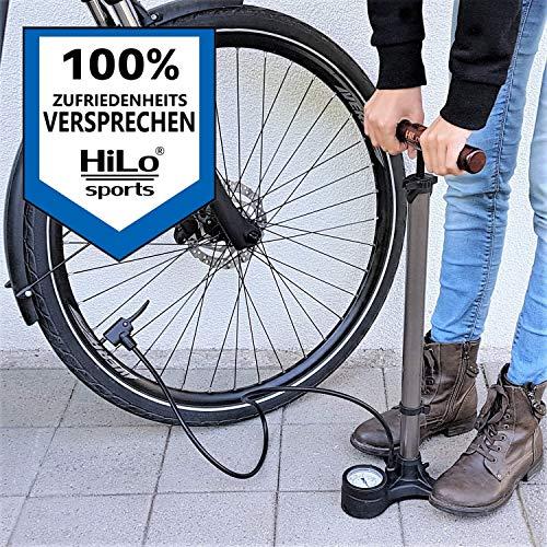HiLo sports Luftpumpe Fahrrad alle Ventile mit Dual Kopf - 11 Bar / 160 Psi Manometer Fahrradpumpe - Standpumpe Fahrrad mit Holz Griff - Pumpe Fahrrad (metallic grau) - 6