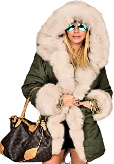 0f12a8c28f Aofur Womens Hooded Faux Fur Lined Warm Coats Parkas Anoraks Outwear Winter  Long Jackets