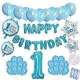 Set de decoración de cumpleaños azul para niños: globos de papel de helio Banner de feliz cumpleaños Guirnalda y globo azul 1 número y 20 globos de látex y 4 globos estrellas para 1 año de fiesta hijo
