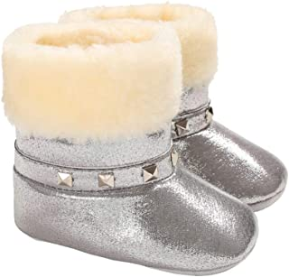 Baby Girls Furry Plush Booties Pull On Glitter Fur Lined Snow Boots with Rivet