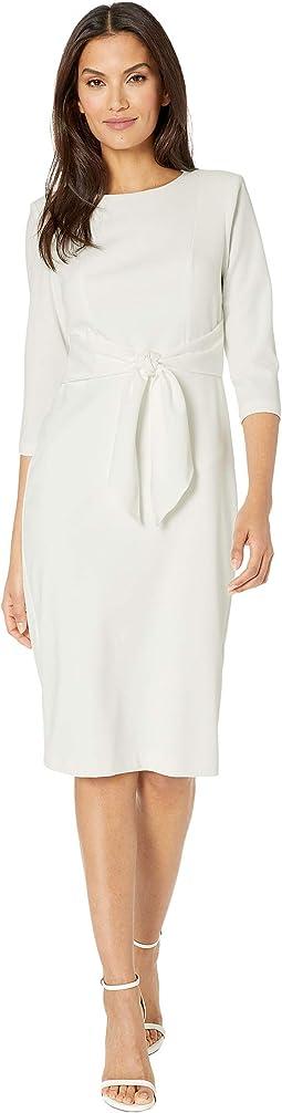 Knit Crepe Tie Waist Sheath Dress
