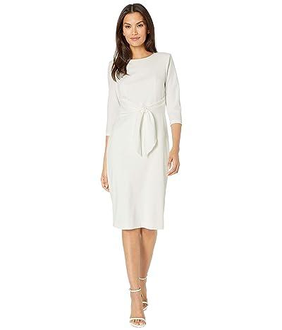 Adrianna Papell Knit Crepe Tie Waist Sheath Dress (Ivory) Women