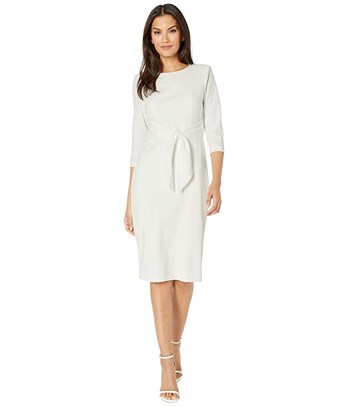 Adrianna Papell  Knit Crepe Tie Waist Sheath Dress (Ivory) Womens Dress