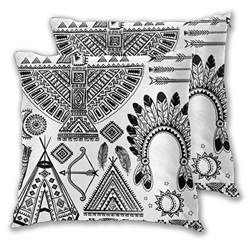 LISNIANY Cushion Cover,Native American Feather Head Band Ethnic Teepee Tent Bow and Arrow Art,Pillow Case Cover Square Cushion Cover for Sofa Car Home Bed Decor 45 x 45cm