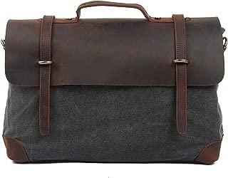 TENSKY Messenger Satchel Bag for Men and Women Vintage Canvas Real Leather 15