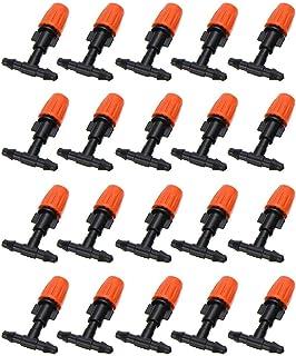 20pcs Orange Micro Spray Adjustable Flow Irrigation Drippers, Garden Adjustable Sprinkler with 4 / 7mm Tees Irrigation Mis...