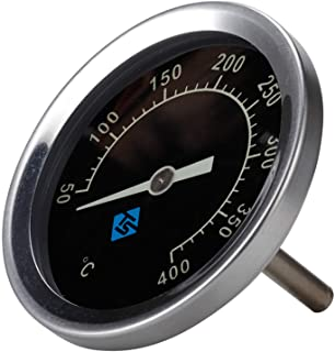 YUZI - Termometro per griglia in acciaio inox, 50-400 ℃ con coperchio bimetallico analogico con luce notturna