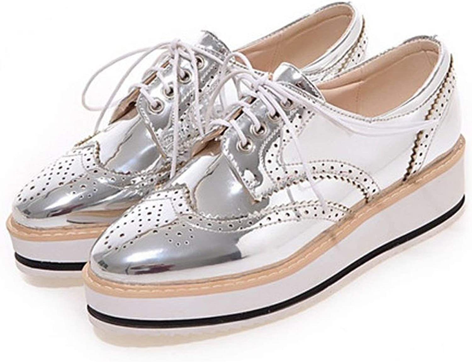 HANBINGPO Vintage Women's Casual Oxfords shoes Carved Bullock shoes Woman Bright Patent Leather Flat Platform Brogue shoes