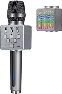 BONAOK 2019 Upgraded Wireless Bluetooth Karaoke Microphone with Controllable LED Light, Portable Rechargeable Karaoke Speaker Machine for Christmas/New Year/Party/Home/Birthday(Gray)