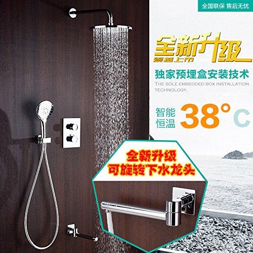 Bijjaladeva Badkamer wastafel Vaartuig Basin Mixer Tap muur zwarte douche kit flush douche kraan badkamer boost stealth volledige koper verwarmde spiegel Glans Zilver ronde warm en koud)