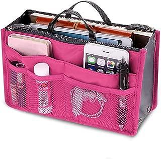 Purse Organizer Insert, ReachTop Waterproof Multi-Pocket Travel Handbag Organizer Insert for Women Speedy Neverfull Longchamp Portable Tote Bag in Bag Organizer Tidy Bag fits Ladies Handbag, Hot Pink