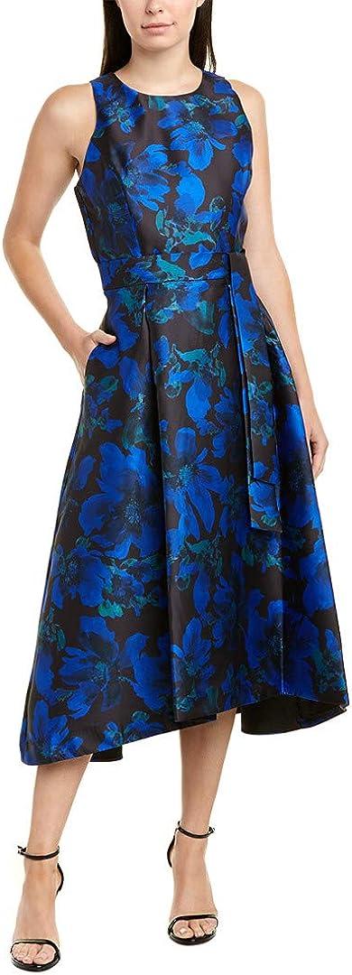 Tahari ASL Women's Belted Hi Lo Floral Jaquard Dress
