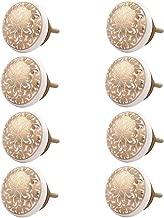 Indian-Shelf Handmade Ceramic Ornamental Flower Cabinet Knobs Flat Drawer Pulls Kitchen Handles(Golden, 1.5 Inches)-Pack of 8