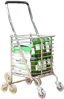 LQBDJPYS 8 Wheels Climbing Stairs Shopping Cart Trolley Aluminum Tri-Wheel Household Vans Lightweight Foldable Folding Lug...