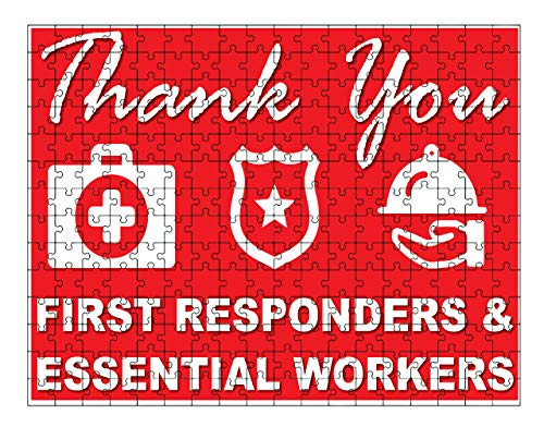 RED with icons Thank You Stay Safe, Health Care, First Responders, Essential Workers Jigsaw Puzzle (252 piece) by M&R