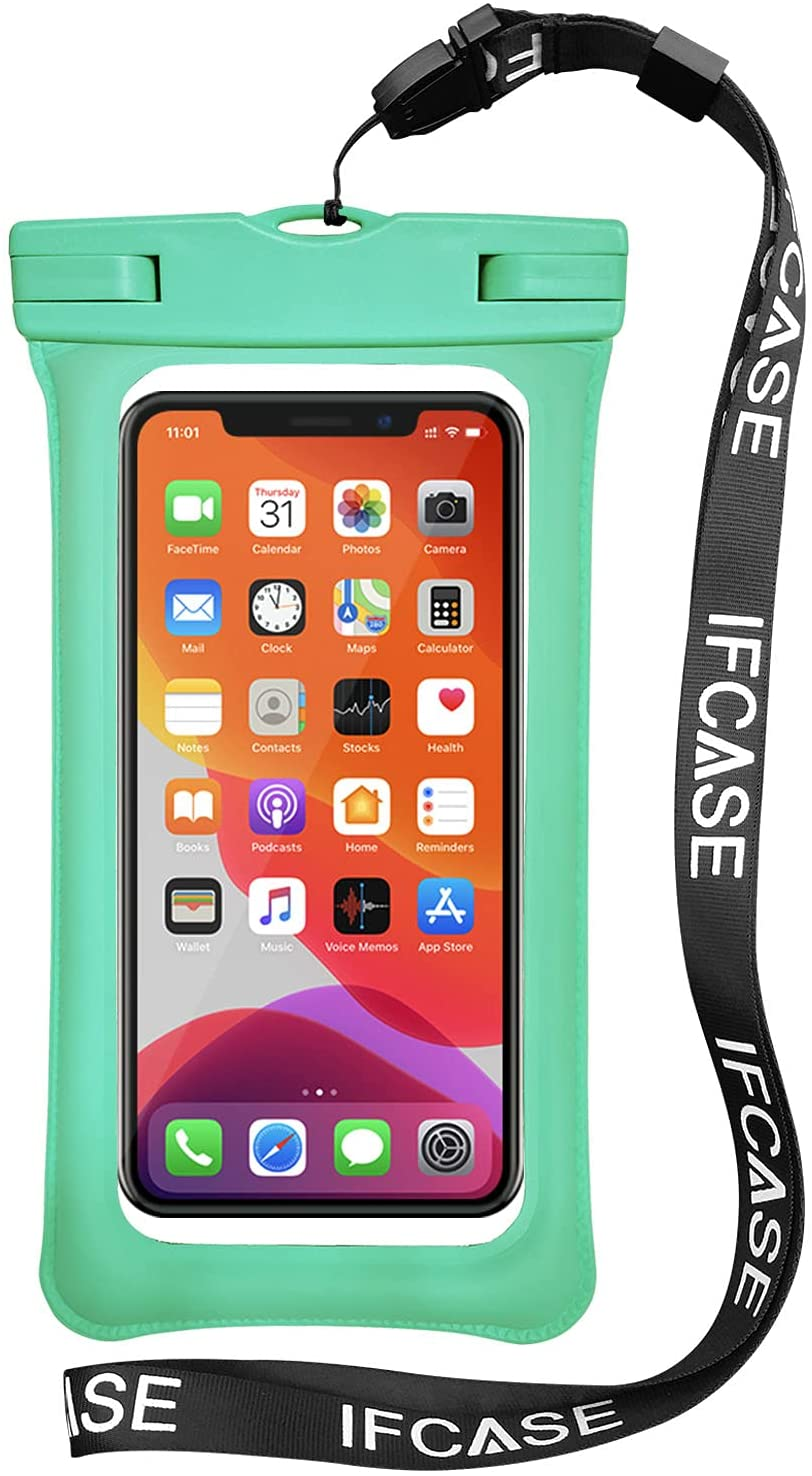 Universal Waterproof Case, IFCASE TPU Phone Dry Bag Pouch for iPhone 12 Pro Max, 11 XS XR X 6 7 SE, Samsung Galaxy S21 S20 S10 S9 Plus, S21 Ultra 5G, A72 A52, LG Stylo 6 5 (Green) 2 Pack