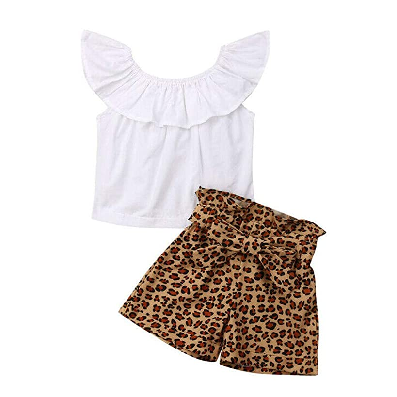 Huarll Infant Baby Toddler Outfit Set Summer Off Shoulder Ruffled Top and Striped Pants Leopard Shorts for Kids Girl