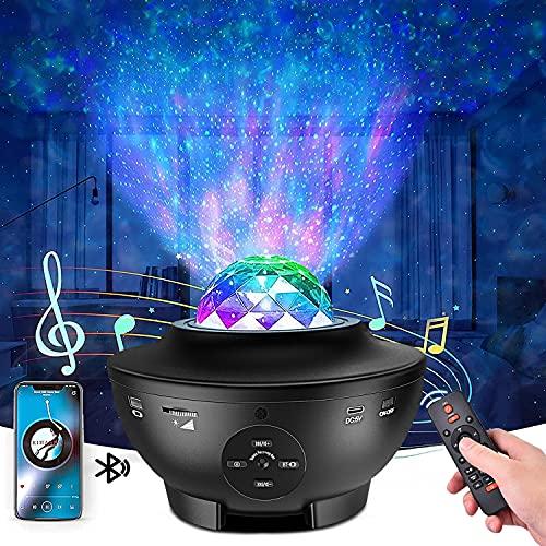 Proyector de estrellas de techo para niños, lámpara de galaxia, luces nocturnas LED, rotación musical romántica con mando a distancia, altavoz, temporizador, Bluetooth, regalos de Navidad