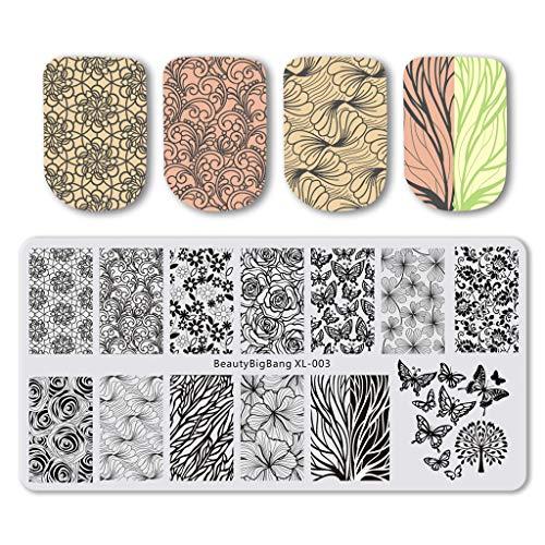 Beautybigbang Vernis à ongles stamping plaques de l'image des modèles Floral Fleur Feuille Rose Papillon Nail Art Xl-003