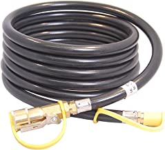 """KIBOW 12Ft Low Pressure Propane Quick-Connect Hose- 1/4"""" Safety Shutoff Valve & Male Full Flow Plug for RVs"""