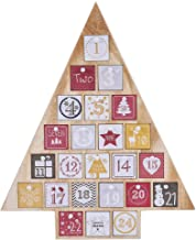 Juegoal Countdown to Christmas Calendar 2019 Nature Wooden Tree Shape Advent Calendar with 24 Storage Drawers, Christmas Gift for Kids, 15