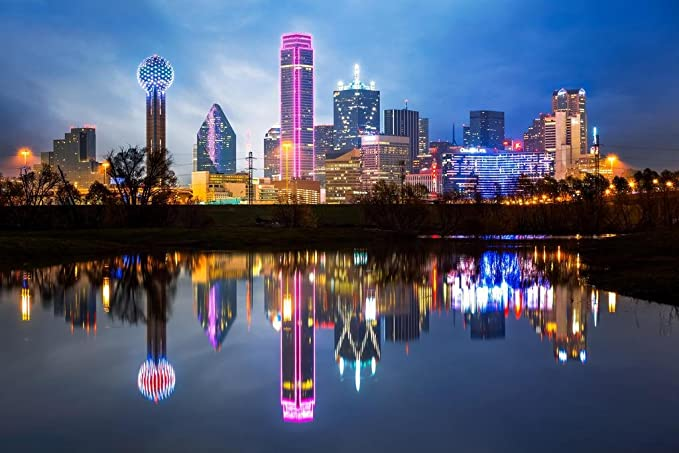 Poster Foundry Downtown Dallas Texas Skyline Reflections Photo Print Stretched Canvas Wall Art 16x24 Inch Posters Prints Amazon Com