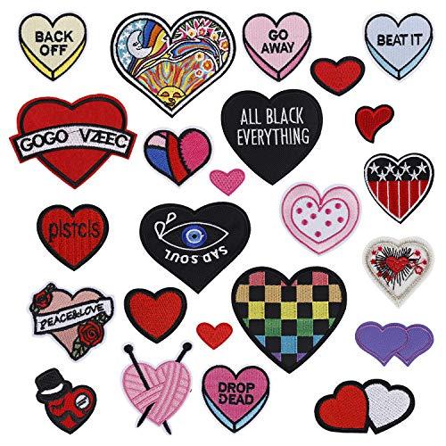 MengH-SHOP Aufnäher Patches Aufbuegler zum Aufbügeln Patches Set auf Oder Nähen-auf Aufnäher Applikation für T-Shirt Jeans Kleidung Herz 24 Stück