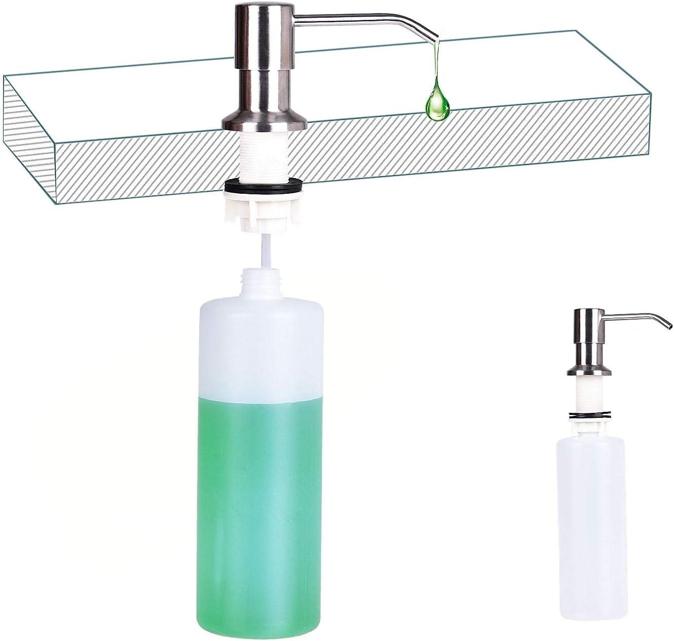 500ml Kitchen Sink Soap Dispenser, Stainless Steel Pump Head Lotion Dispenser for Kitchen Sink, Replacement Liquid soap Bottle Built in Hand Sink Pump (Brushed Nickel)