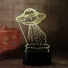Novelty Gift Cartoon UFO Alien Spacecraft Acrylic 3D RGB LED Night Lights USB Power Table Desk Lamp Remote Control Home Decor Kid Toys Christmas Gift(UFO)
