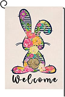 Welcome Spring Easter Bunny Garden Flag Vertical Double Sided Burlap Yard Colorful Flower Rabbit Outdoor Decor 12.5 x 18 I...