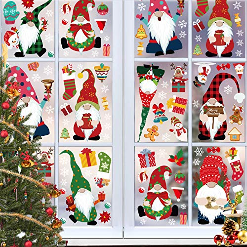 8 Sheets Christmas Gnome Window Clings Stickers Snowflake Santa Claus Xmas Decals for Glass Christmas Window Decoration for Party.