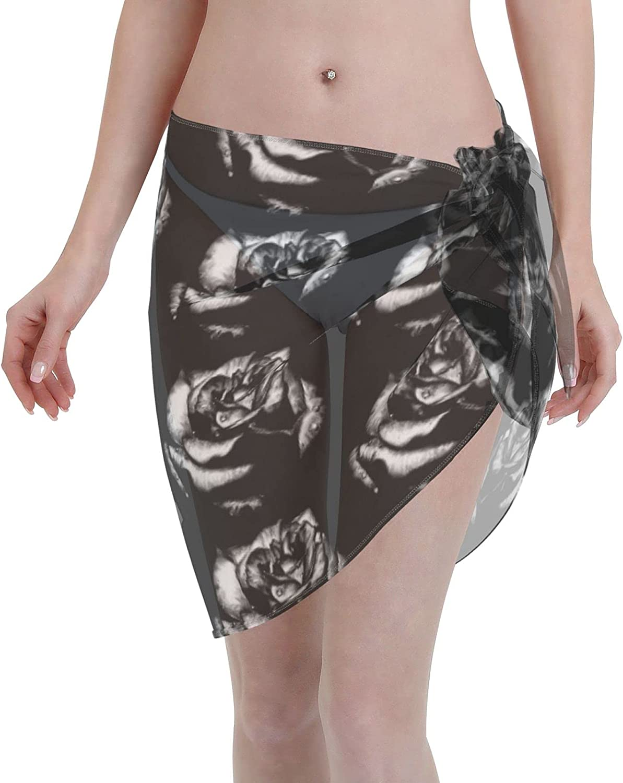 Goth Black Rose Women Short Sarongs Beach Wrap Bathing Suits Cover Ups Sheer Short Skirt Bikini Chiffon Scarf