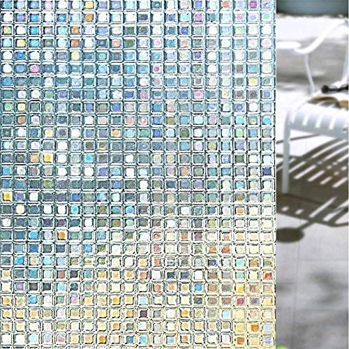 Shackcom 3D Fensterfolie Selbsthaftend Blickdicht Sichtschutz Sichtschutzfolie 90x200CM Statisch Haftend Anti UV Dekorfolie für Bad Küche Büro Zuhause Farbeffekt unter Licht S162