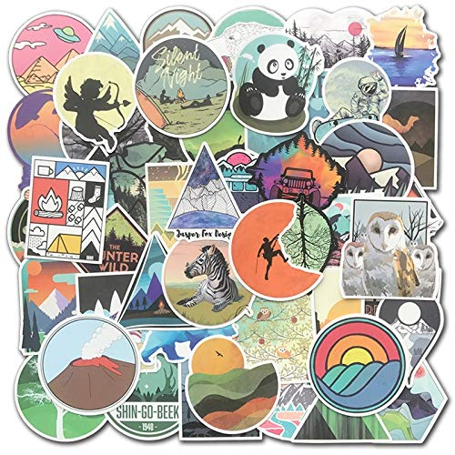 MYOMY Sticker Doodle Waterproof Sticker Pack Outdoor Camping 50 Pcs Applique Motorized Skateboard Travel Suit Helmet