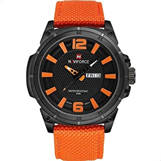 Naviforce 9066N B-0-0 Nylon Round Analog Watch for Men - Orange