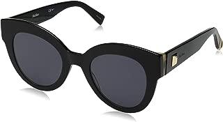 Max Mara Women's Mm Flat I Round Sunglasses, Black, 48 mm