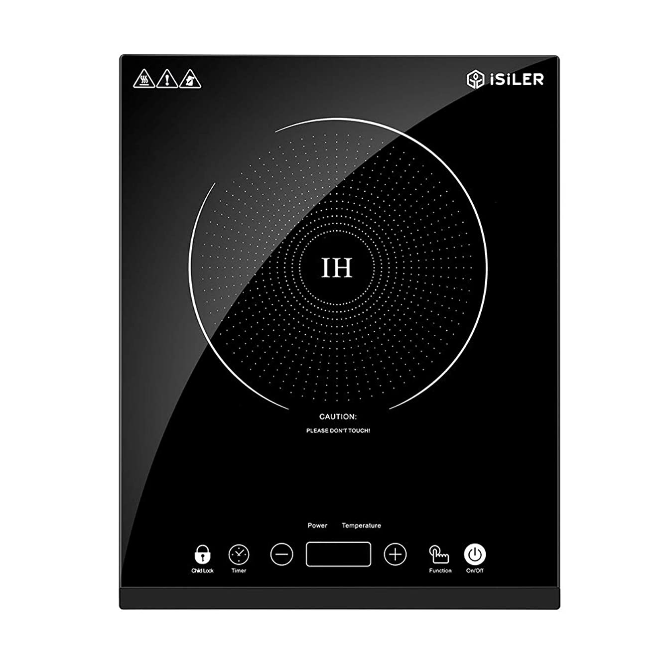 Portable Induction Cooktop, iSiLER 1800W Sensor Touch Electric Induction Cooker Cooktop with Kids Safety Lock, Countertop Burner with Timer and 8 Temperature Settings, Suitable for Cast Iron, Stainless Steel Cookware