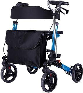 Asdfnfa Folding Walker - 4 Wheel Medical Rolling Walker with Seat & Bag - Mobility Aid for Adult, Senior, Elderly & Handic...