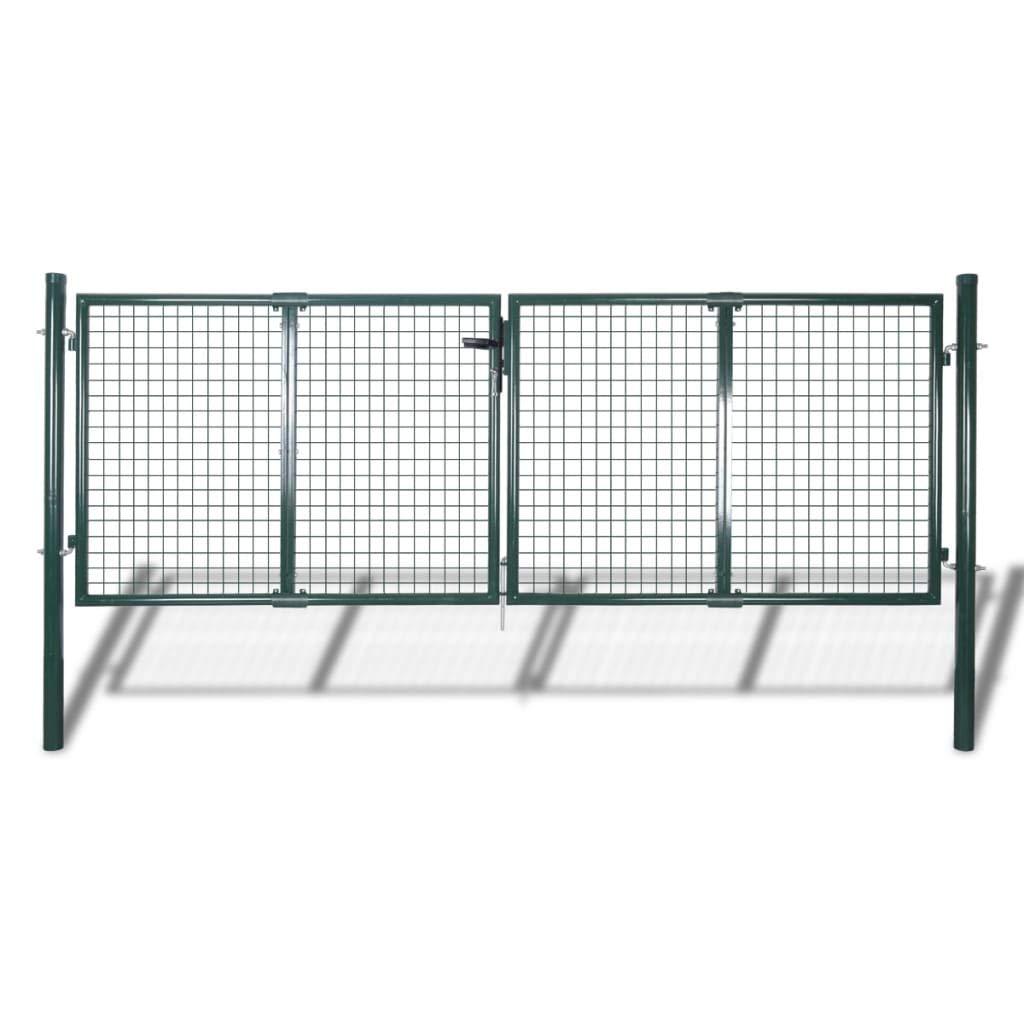Outdoor Garden Gates, DIY Dual Swing Driveway Gate Kit with Lock
