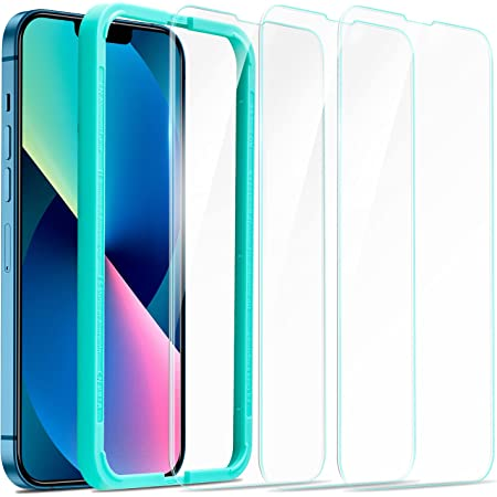 ESR Tempered-Glass Screen Protector Compatible with iPhone 13 and iPhone 13 Pro, with Easy Installation Frame, Ultra Tough, Clear, 3 Pack